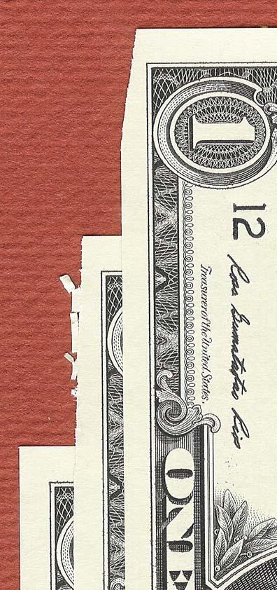 Close-up of damaged notes