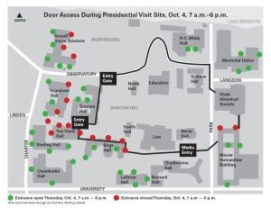 Campus Access Map During Presidential Visit