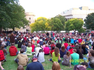 Overflow Crowd on Bascom Hill Listening to President Barack Obama