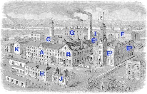 John Gund Brewing Company 1890, as seen from the northeast